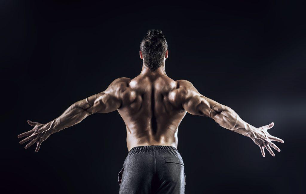 背筋群を見せつける男性
