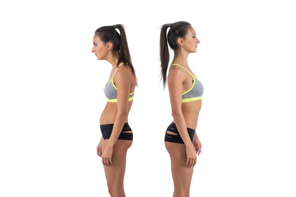 姿勢改善前と後の比較
