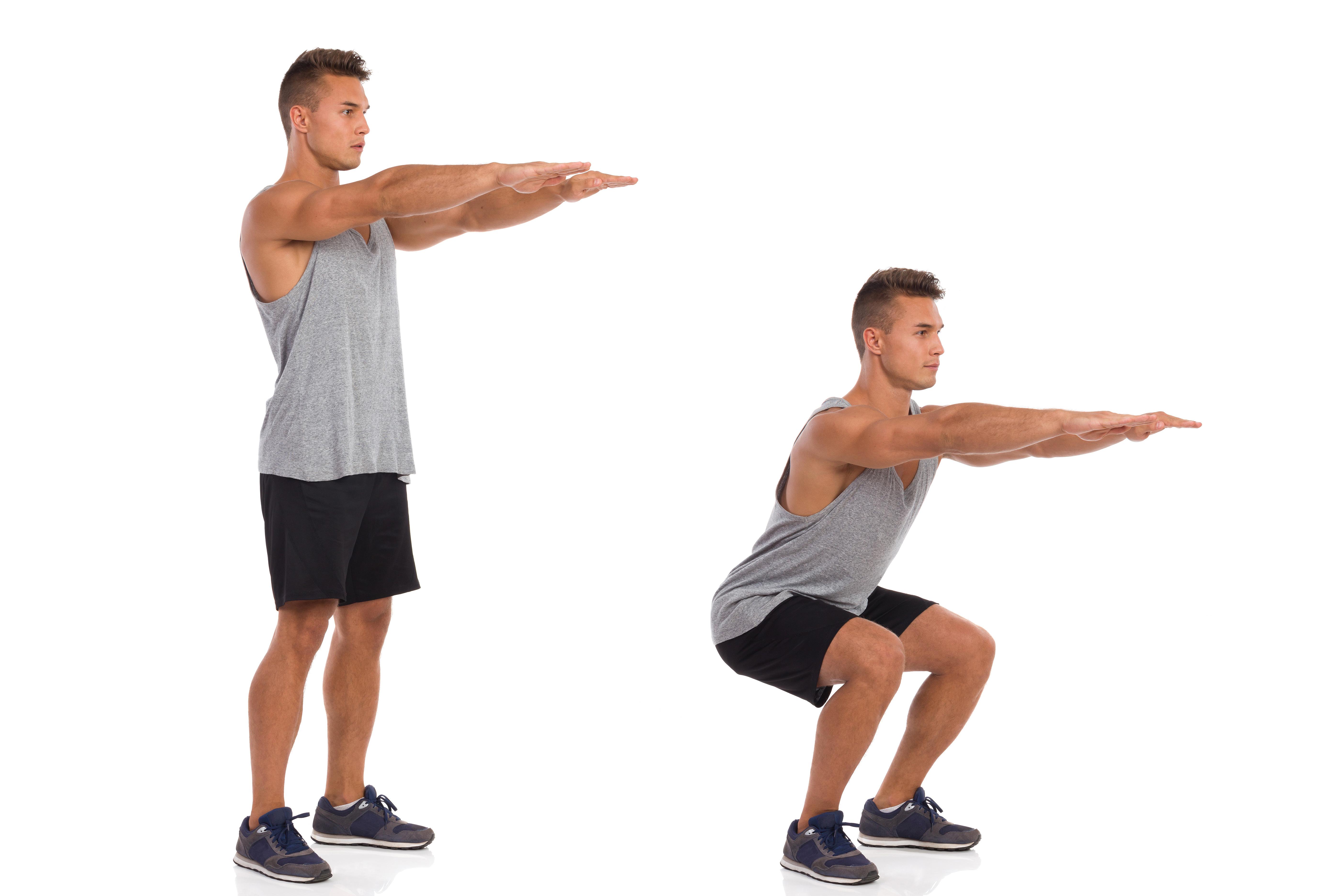 筋肉男はスクワット運動、サイドビュー、ステップバイ ステップを示します。 完全な長さのスタジオ撮影に分離白。