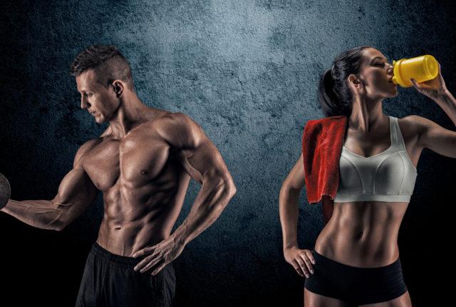 強い男と女性