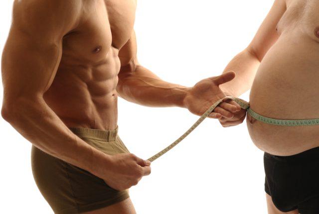 筋肉と脂肪の2人の男性