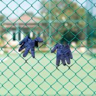 テニスコートに手袋