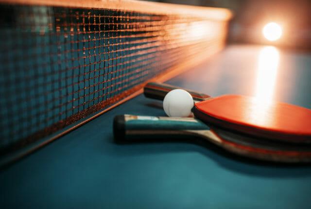 卓球ラケットとネット