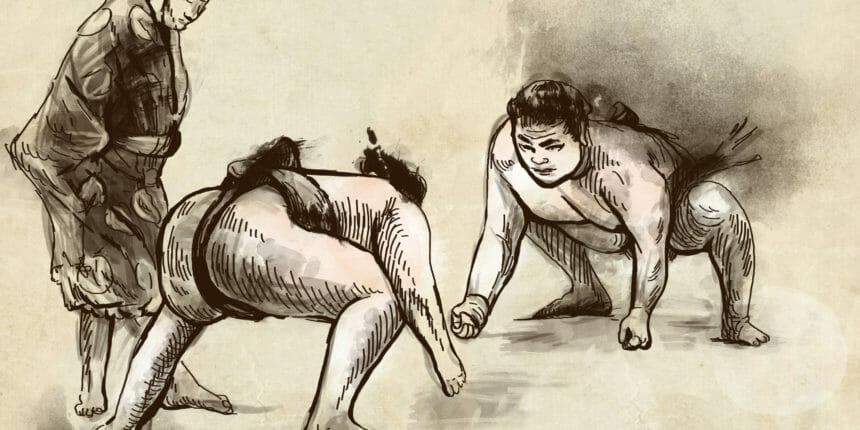 手書きの相撲画
