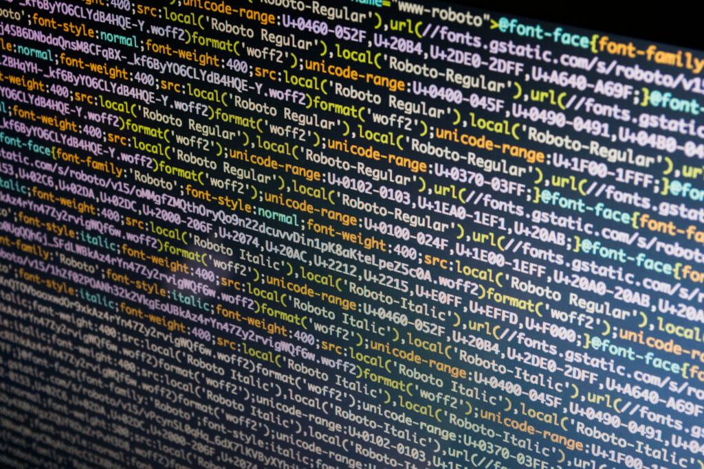 PC上のプログラミングコード