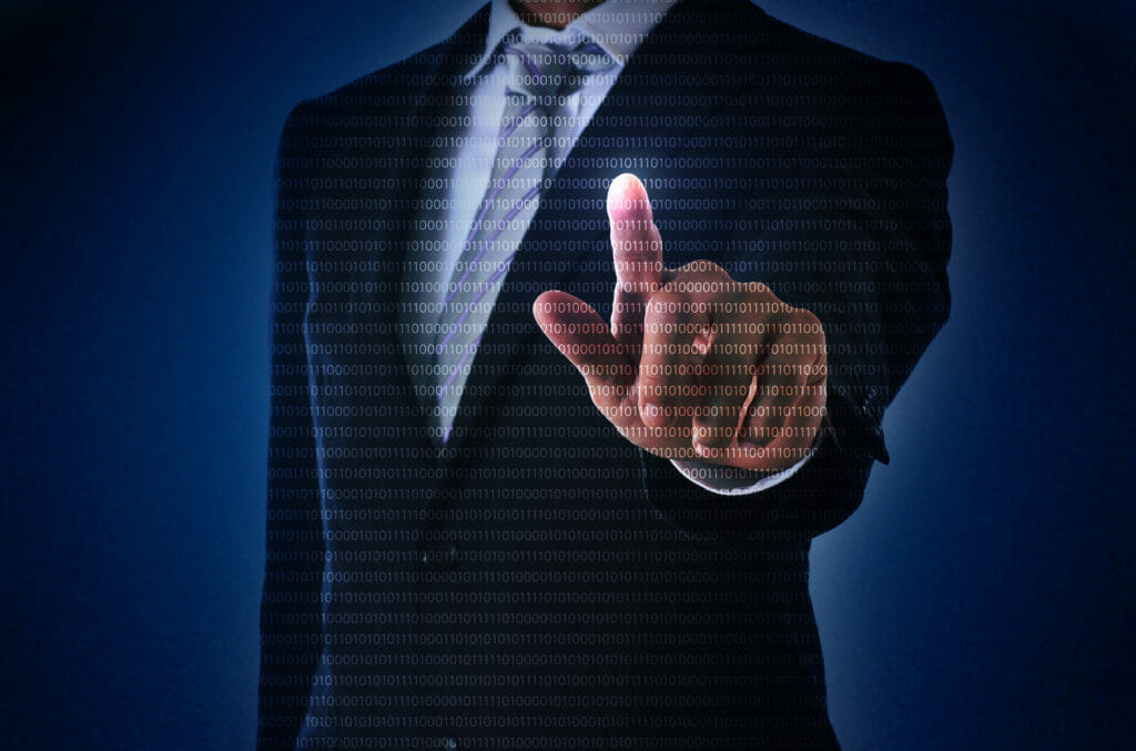 指を指しているビジネスマン