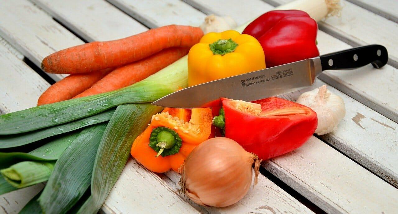 野菜、ナイフ、パプリカ